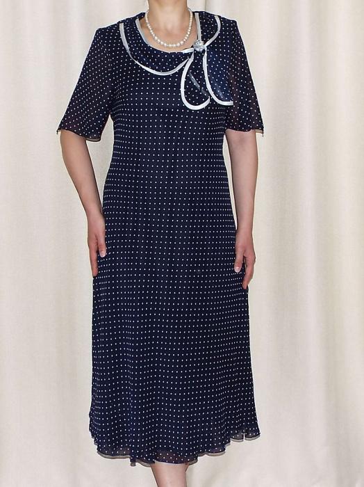 Rochie de vara din voal bleumarin cu buline albe - Elvira [0]