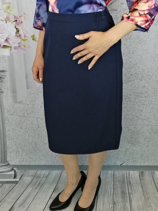 Fusta de zi din stofa bleumarin cu elastic in talie - F012 0