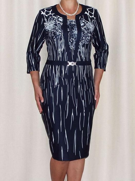 Rochie eleganta bleumarin cu imprimeu si accesoriu - Greta [0]