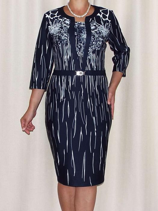 Rochie eleganta bleumarin cu imprimeu si accesoriu - Greta [1]