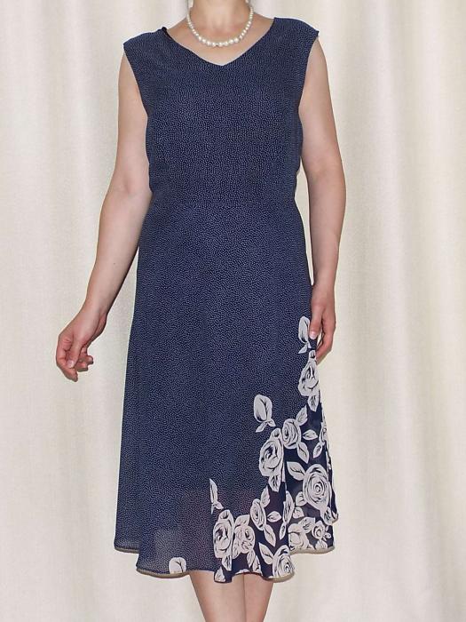 Rochie vaporoasa din voal bleumarin cu imprimeu - Karina [0]