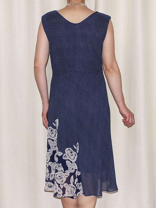 Rochie vaporoasa din voal bleumarin cu imprimeu - Karina [1]