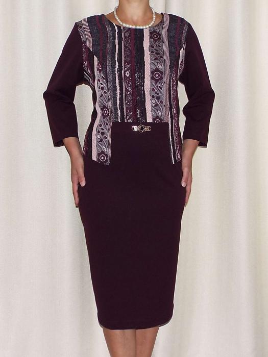 Rochie eleganta cu imprimeu si maneca trei sferturi - Liana Mov Pruna [1]