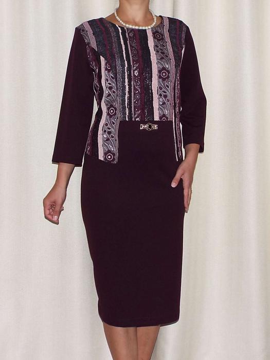 Rochie eleganta cu imprimeu si maneca trei sferturi - Liana Mov Pruna [0]