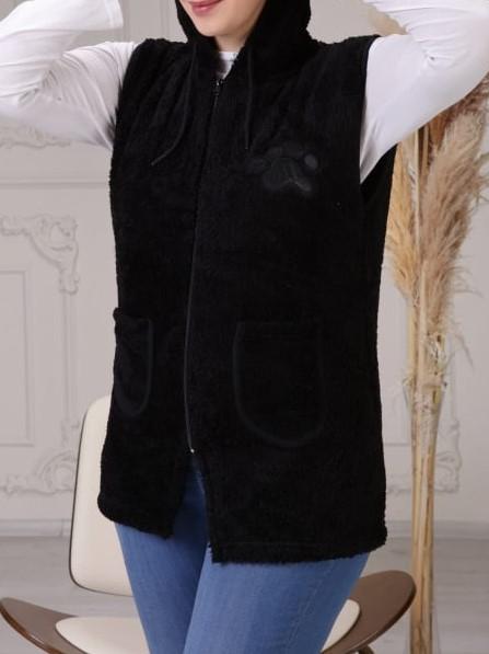 Vesta dama cocolino cu buzunare si gluga - Magda Negru [0]