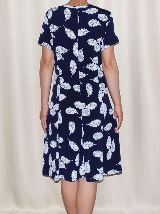 Rochie de zi bleumarin cu imprimeu cu frunze - Mirabela 3 1