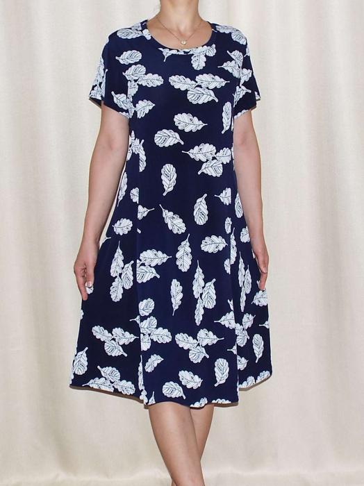 Rochie de zi bleumarin cu imprimeu cu frunze - Mirabela 3 0