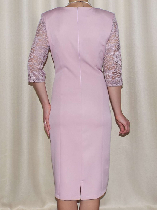 Rochie eleganta din stofa si dantela - Octavia Roz Pudra 1