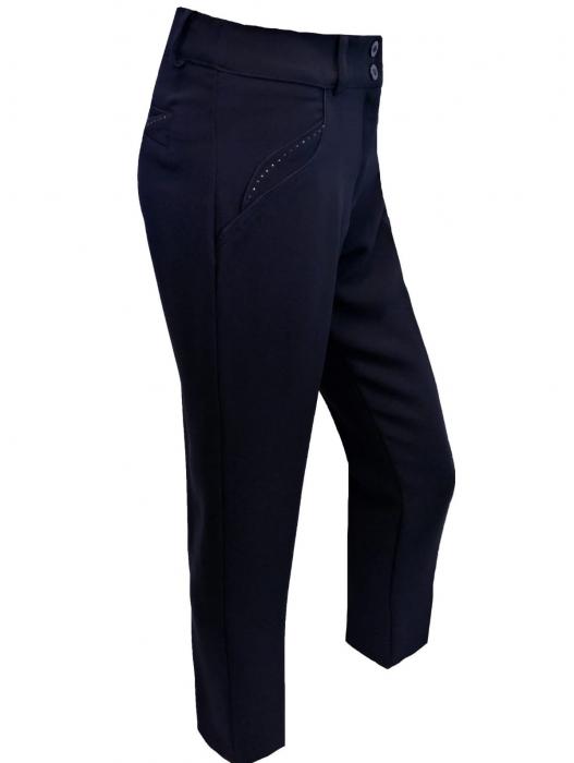 Pantaloni dama din stofa bleumarin cu strasuri - P019 0