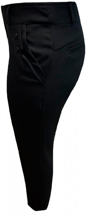 Pantaloni dama din stofa neagra cu buzunare - P017 1