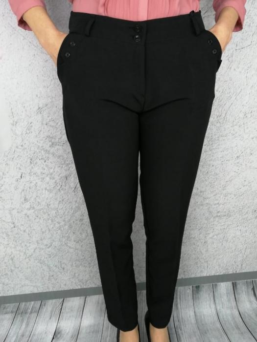 Pantaloni dama din stofa neagra cu buzunare - P017 0