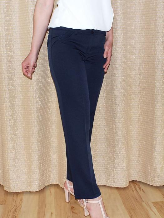 Pantaloni dama eleganti bleumarin din stofa - P013 [0]