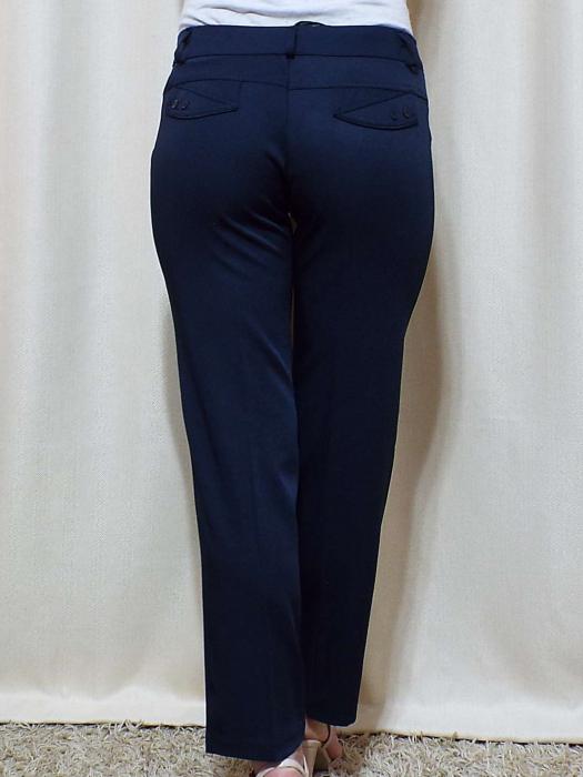 Pantaloni dama eleganti bleumarin din stofa - P013 [4]