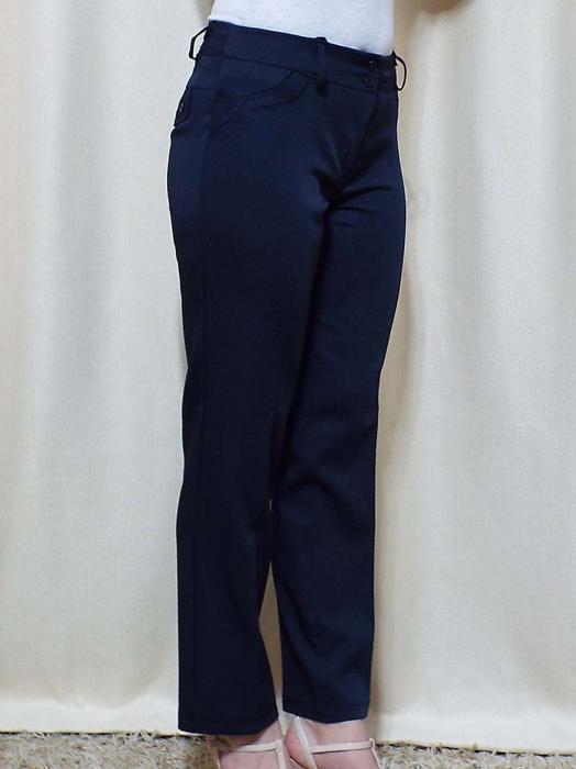 Pantaloni dama eleganti bleumarin din stofa - P013 [1]