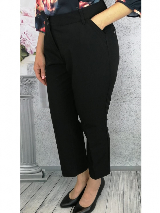 Pantaloni dama eleganti din stofa neagra - P014 0