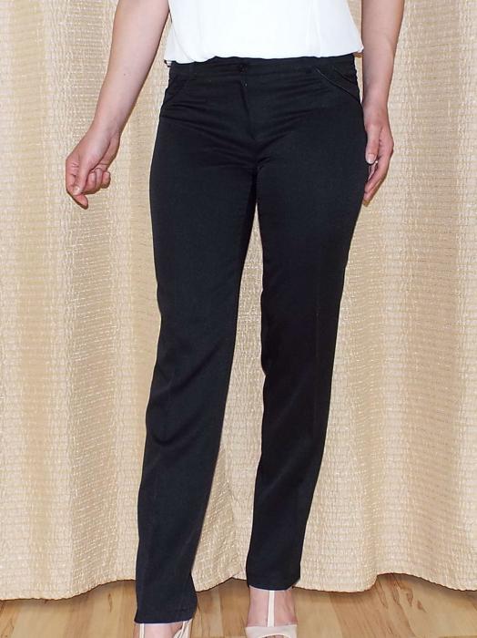Pantaloni dama eleganti negri cu croi drept - P012 [0]