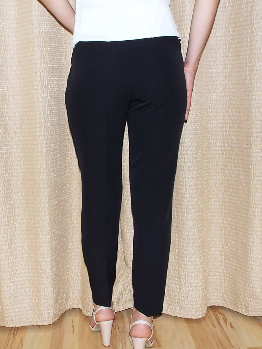 Pantaloni dama negri cu buzunare laterale - P011 1