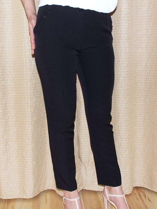 Pantaloni dama negri cu buzunare laterale - P011 0