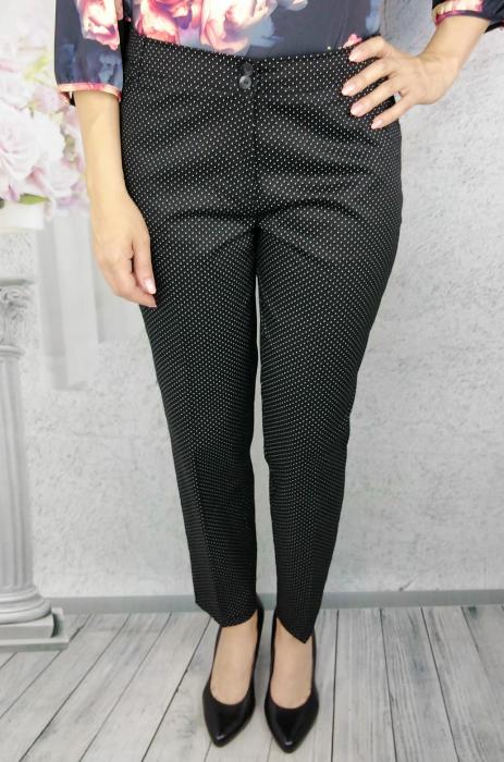 Pantaloni dama negri din tercot cu buline albe - P016 [1]