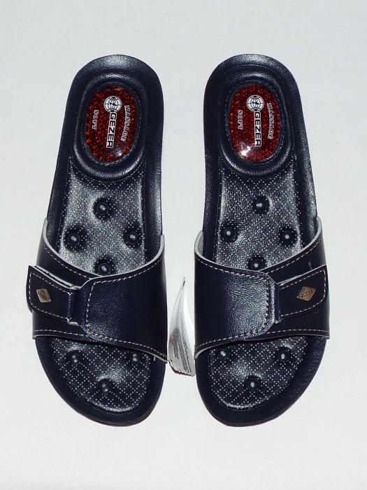 Papuci dama comozi cu gel pe talpa si catarama reglabila- Gezer Bleumarin [2]