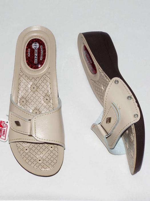 Papuci dama comozi cu gel pe talpa si catarama reglabila- Gezer Crem [0]