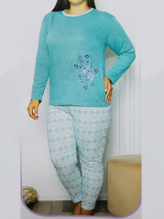 Pijama dama din bumbac cu maneca lunga - PJM08 [0]
