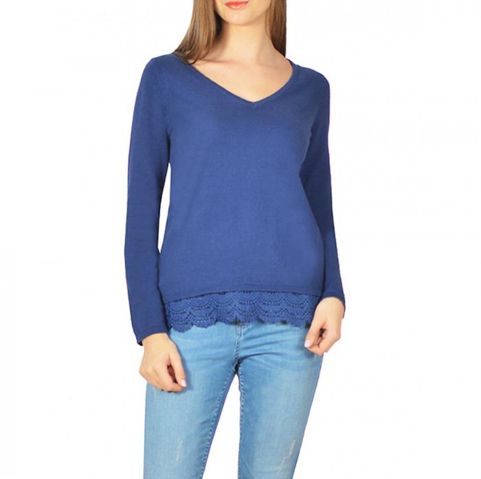 Pulover bleumarin cu broderie pe poale - Blue Sweater 0