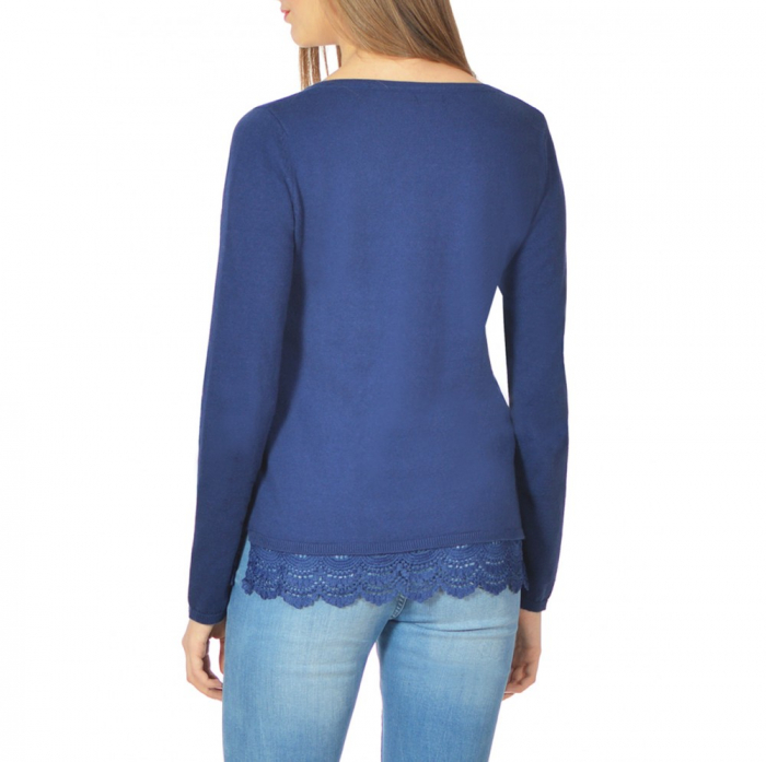 Pulover bleumarin cu broderie pe poale - Blue Sweater 1