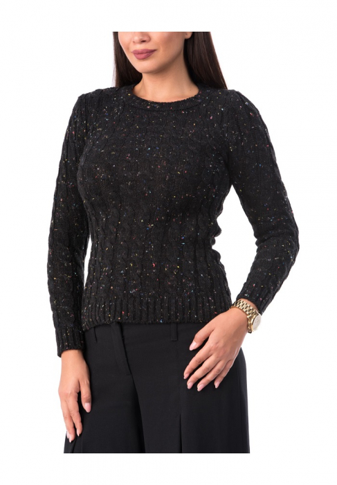 Pulover dama din tricot negru cu maneca lunga - P6000 0