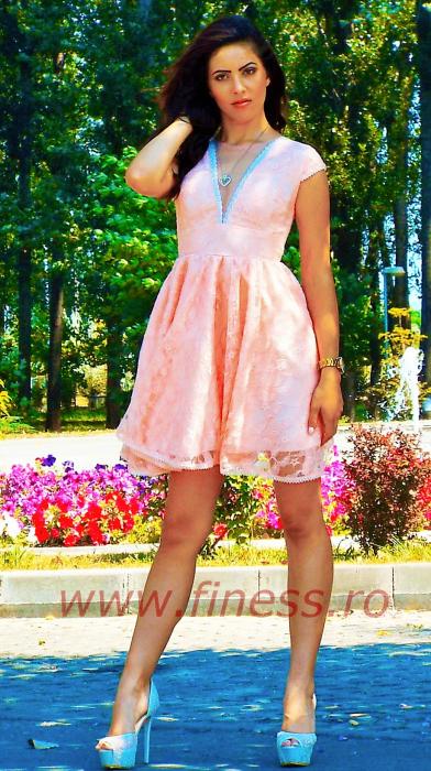 Rochie baby-doll dantela roz - Helen Roz [1]