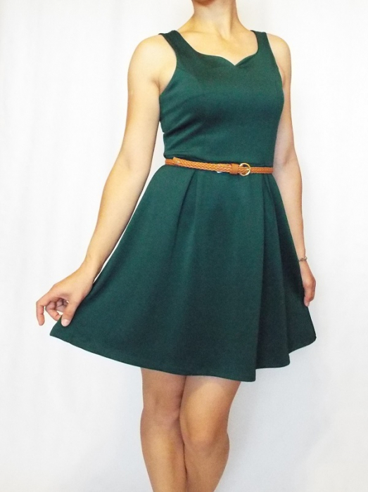 Rochie casual verde fara maneci- Green Dress 1