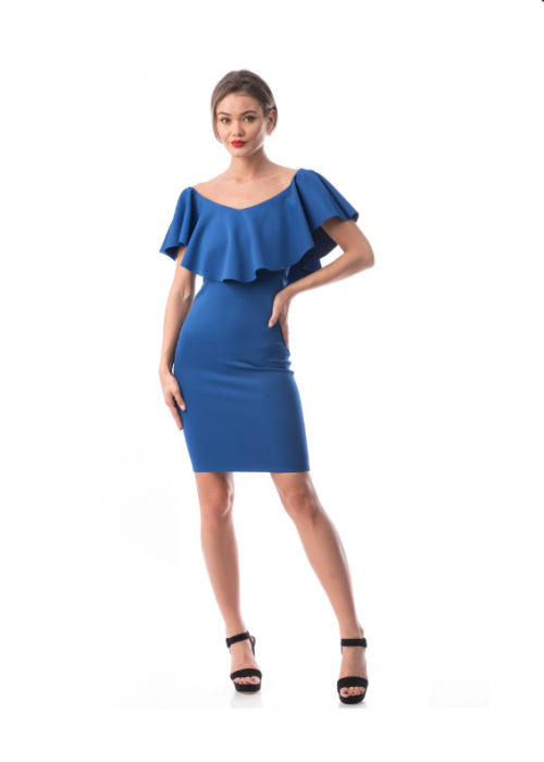 Rochie conica albastra cu volan supradimensionat - R619-2 [1]