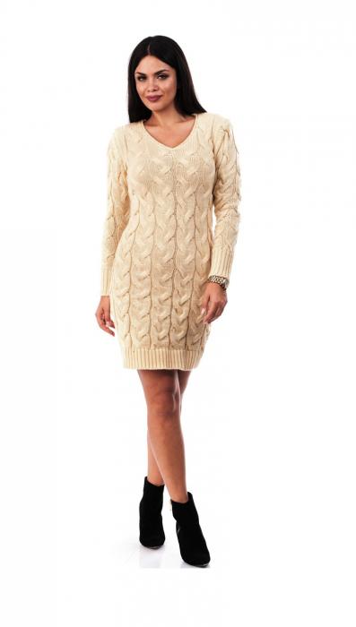 Rochie crem tricotata cu decolteu in V - R2025C 0