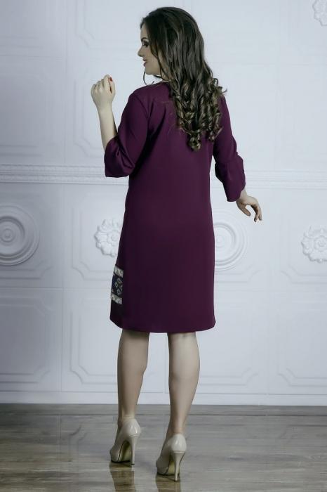 Rochie cu broderie traditionala si maneca trei sferturi - Raisa Mov 1
