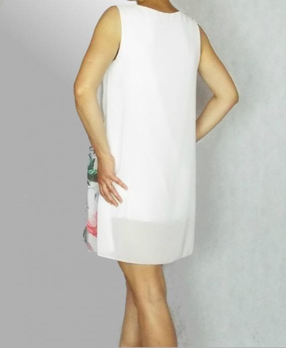 Rochie cu croi lejer din voal cu imprimeu floral - Selena Alb 0