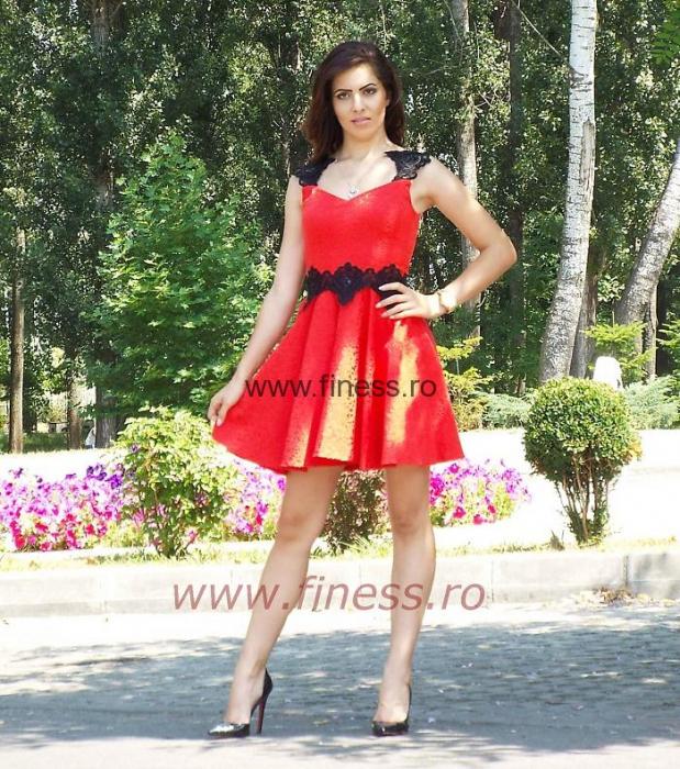 Rochie dama jacquard cu broderie paietata - R101 0