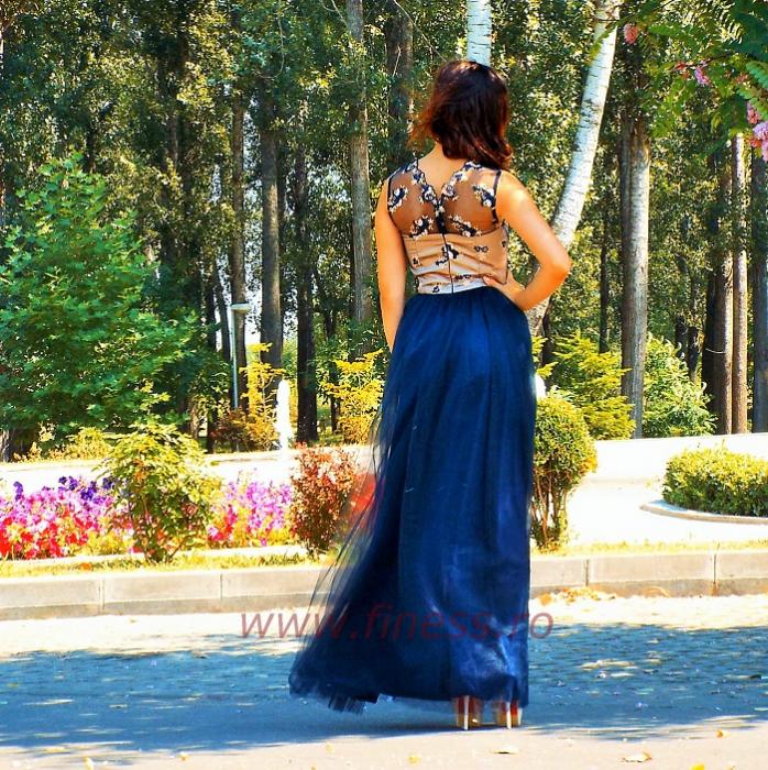 Rochie de seara cu broderie colorata si tull bleumarin - Dark blue dress 2