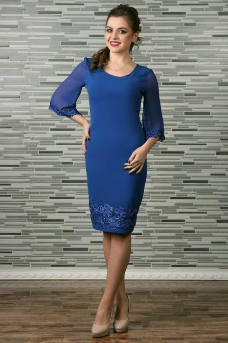 Rochie de seara cu insertii din broderie paietata - Cezara Albastru 0