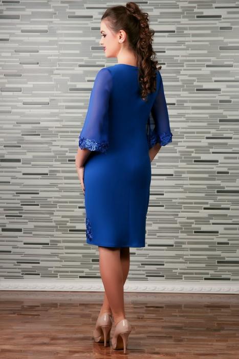 Rochie de seara cu insertii din broderie paietata - Cezara Albastru 1