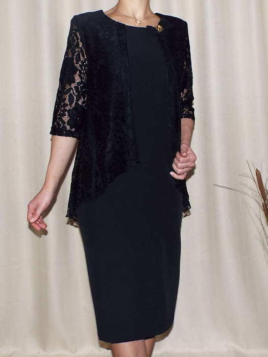 Rochie de seara cu maneca trei sferturi - Anastasia Negru 0