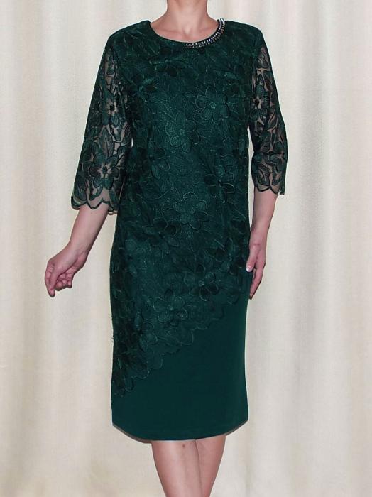 Rochie de seara cu maneca trei sferturi - Catalina Verde 0