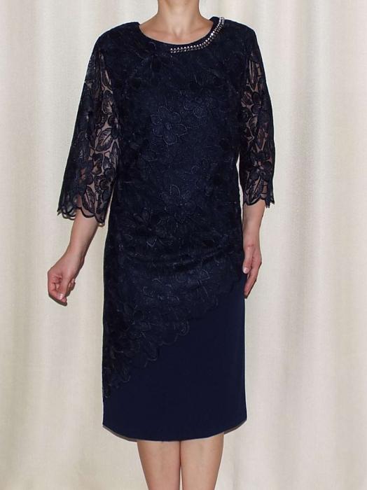 Rochie de seara din crep si dantela - Catalina Bleumarin 0