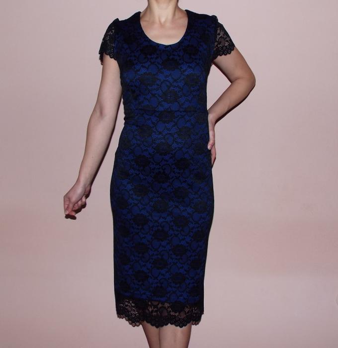 Rochie de seara din dantela si maneca scurta - Lili Albastru 0