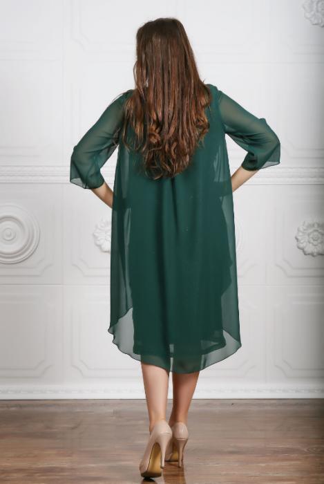 Rochie de seara verde din lame plisat si voal cu accesoriu - Lorena Verde 1