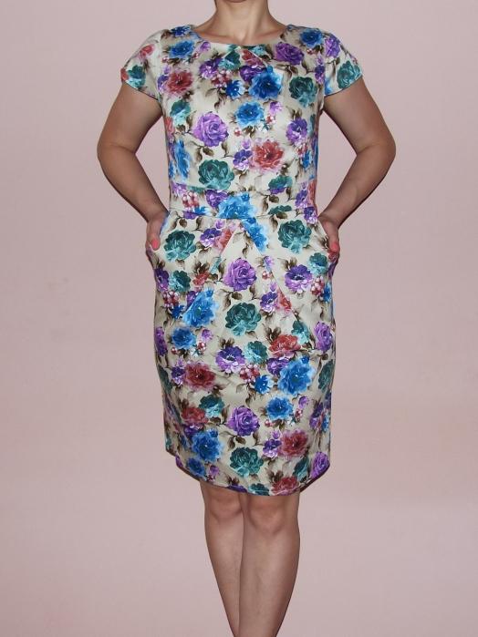 Rochie de vara bej cu imprimeu floral multicolor - Timeea 1