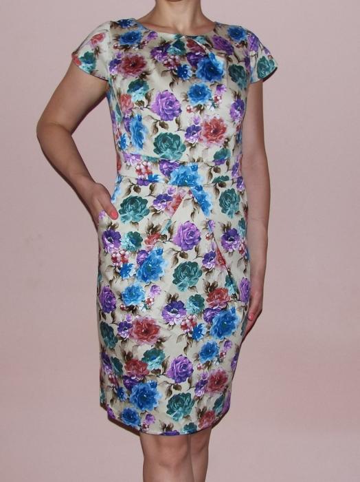 Rochie de vara bej cu imprimeu floral multicolor - Timeea 0