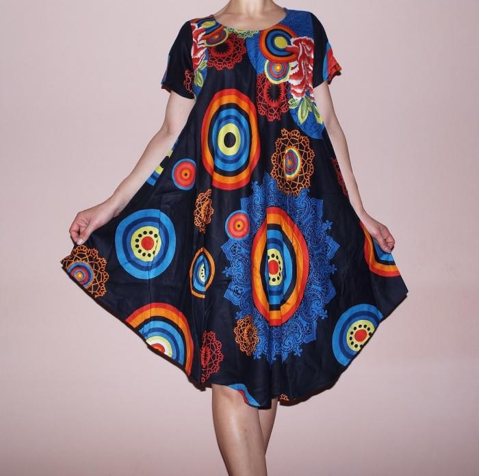 Rochie de vara cu croi lejer si imprimeu floral maxi - Lisa 0