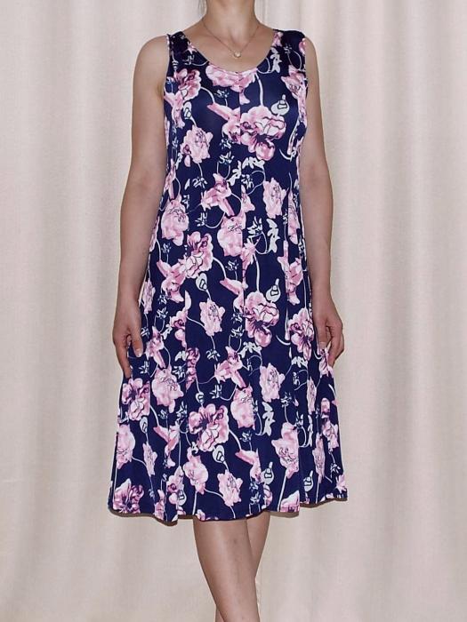 Rochie de vara cu imprimeu floral si decolteu rotund - Romina 6 [0]