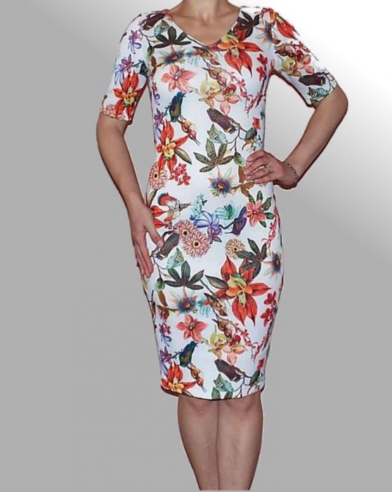 Rochie de vara cu imprimeu floral si maneca trei sferturi - Victoria [0]