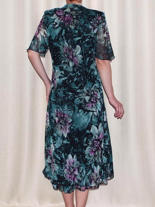 Rochie de vara din voal cu brosa detasabila – Victoria Verde 1